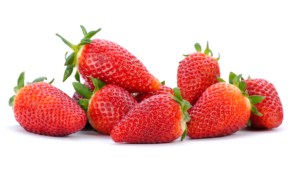 group of strawberries on white background